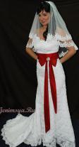 """""""НК """" Свадебное платье П050, Р-Р 42-44,белое с бордовой лентой,ПРОДАНО!"""